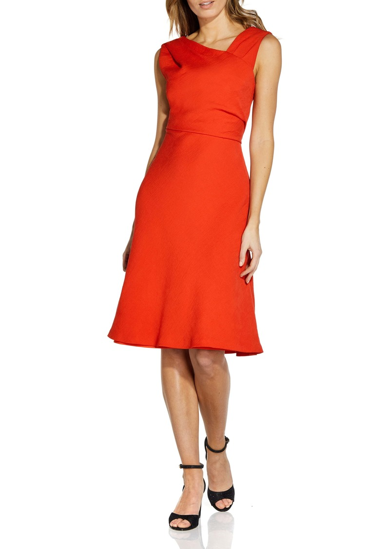Adrianna Papell Sleeveless Pleated Crepe Dress