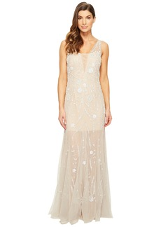 Adrianna Papell Sleeveless Plunging V-Neckline Fully Beaded Mesh Illusion Gown with Godets