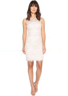 Adrianna Papell Sleeveless Sequin Guipure Lace Sheath Dress
