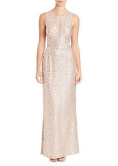Sleeveless Sequin Illusion Gown