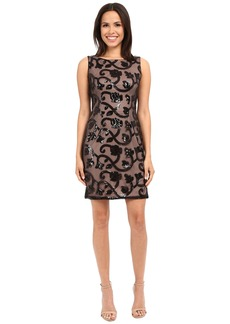 Adrianna Papell Sleeveless Sequin Mesh Cocktail Dress