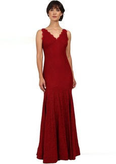 Adrianna Papell Sleeveless V-Neck Lace Trumpet Gown