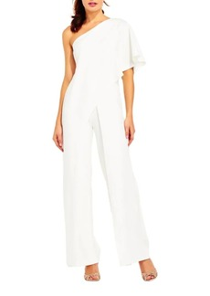 Adrianna Papell Solid One-Shoulder Jumpsuit