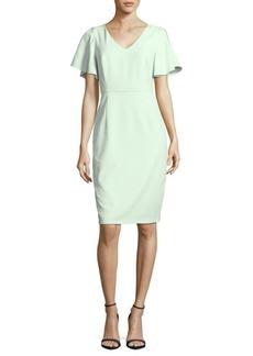 Adrianna Papell Solid V-Neck Sheath Dress