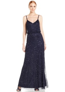 Adrianna Papell Spaghetti-Strap Beaded Blouson Gown