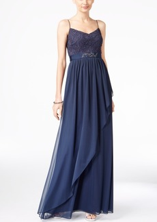 Adrianna Papell Spaghetti-Strap Lace Gown