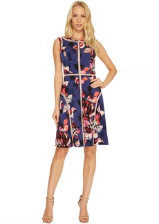 Adrianna Papell Spliced Floral Print Jersey Dress