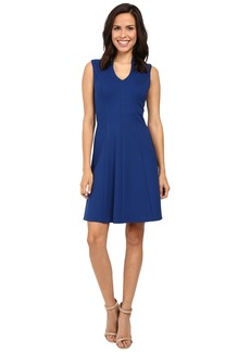 Adrianna Papell Split Mock Neck Fit and Flare Dress