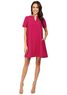 Adrianna Papell Split-Neck Shift Dress w/ Elbow Sleeve