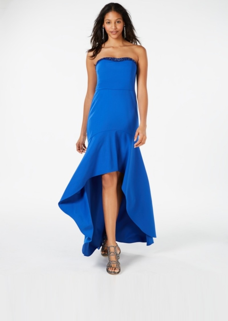 Adrianna Papell Strapless Crepe High-Low Gown