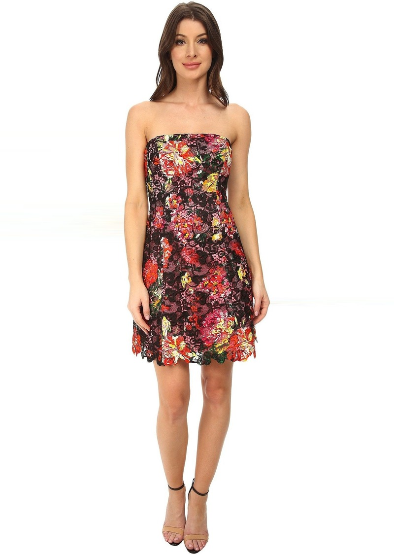 Adrianna Papell Strapless Floral Print Lace Dress