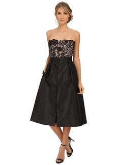 Adrianna Papell Strapless Guipure Lace Bodice Taffeta Jumpsuit