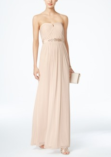 Adrianna Papell Strapless Ruched Gown