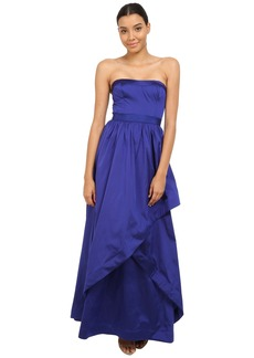 Adrianna Papell Strapless Taffeta Ball Gown w/ Cross Skirt Detail