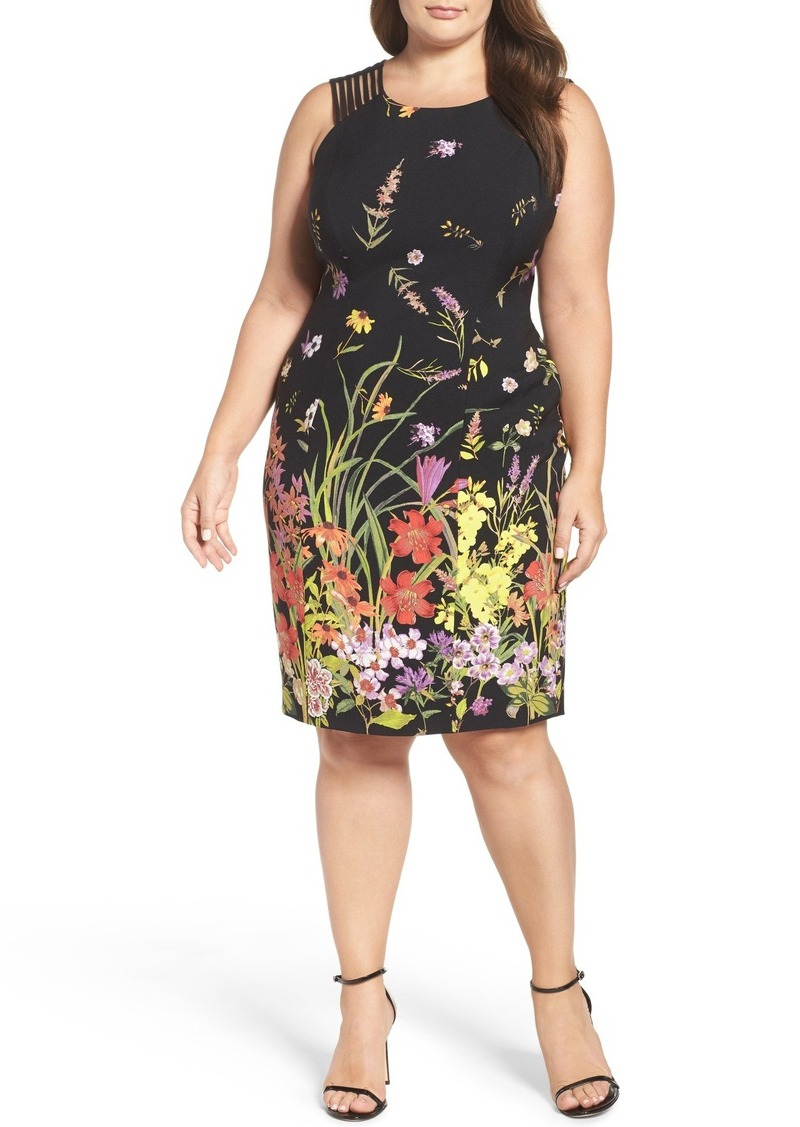 Adrianna Papell Strappy Shoulder Print Sheath Dress (Plus Size)
