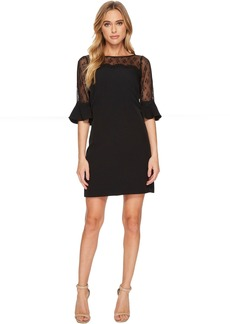 Adrianna Papell Stretch Crepe and Lace Shift Dress