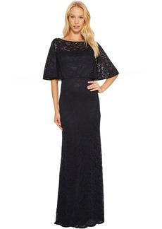 Adrianna Papell Stretch Lace Caplet Gown