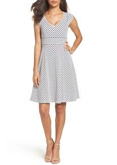 Adrianna Papell Stripe Fit & Flare Dress (Regular & Petite)