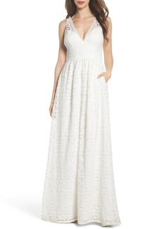 Adrianna Papell Stripe Lace A-Line Gown