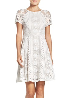 Adrianna Papell Stripe Lace Fit & Flare Dress