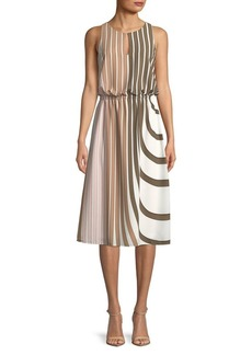 Adrianna Papell Stripe Midi Blouson Dress