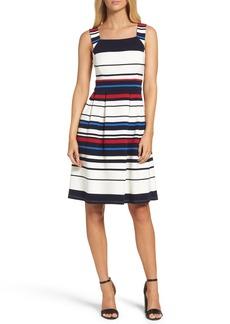 Adrianna Papell Stripe Ottoman Fit & Flare Dress (Regular & Petite)