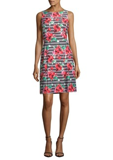 Adrianna Papell Striped and Floral Designed Dress