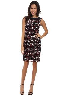 Adrianna Papell Striped Bandings Sheath Dress