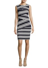 ADRIANNA PAPELL Striped Colorblocked Sheath Dress