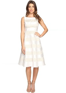 Adrianna Papell Striped Lace & Mikado Cocktail Dress