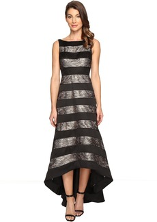 Adrianna Papell Striped Lace & Mikado Hi-low Dress