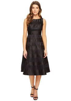 Adrianna Papell Striped Lace Mikado Combo Fit and Flare Dress