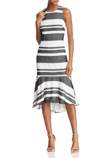 Adrianna Papell Striped Trumpet Dress