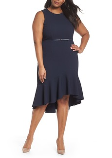 Adrianna Papell Structured Knit Asymmetrical Trumpet Midi Dress (Plus Size)