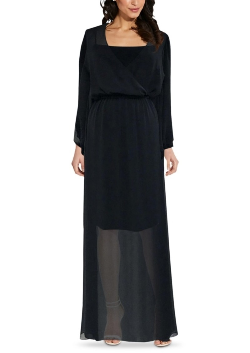 Adrianna Papell Surplice Chiffon Maxi Dress