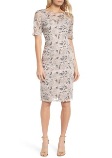 Adrianna Papell Suzette Embroidered Sheath Dress (Regular & Petite)