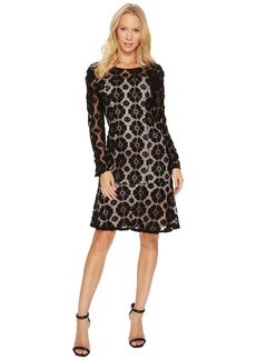Adrianna Papell Textural Floral and Dot Lace Sheath Dress with Flounce Hem