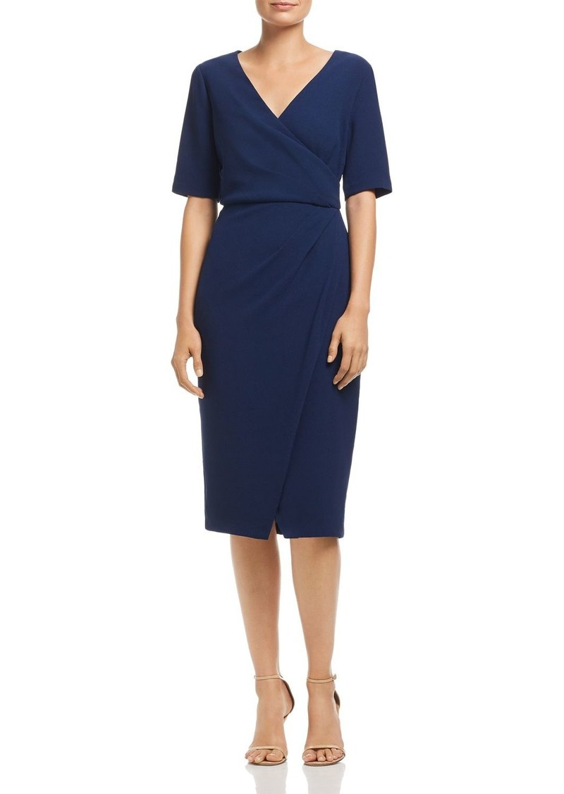 Adrianna Papell Textured Crepe Faux Wrap Dress