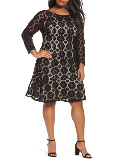 Adrianna Papell Textured Floral Lace Shift Dress (Plus Size)