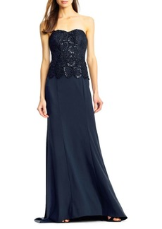 Adrianna Papell Textured Lace Gown