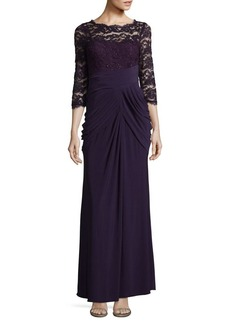 Adrianna Papell Three-Quarter Lace Sleeve Evening Gown