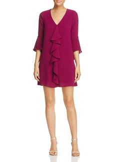 Adrianna Papell Three-Quarter Sleeve Ruffle Dress