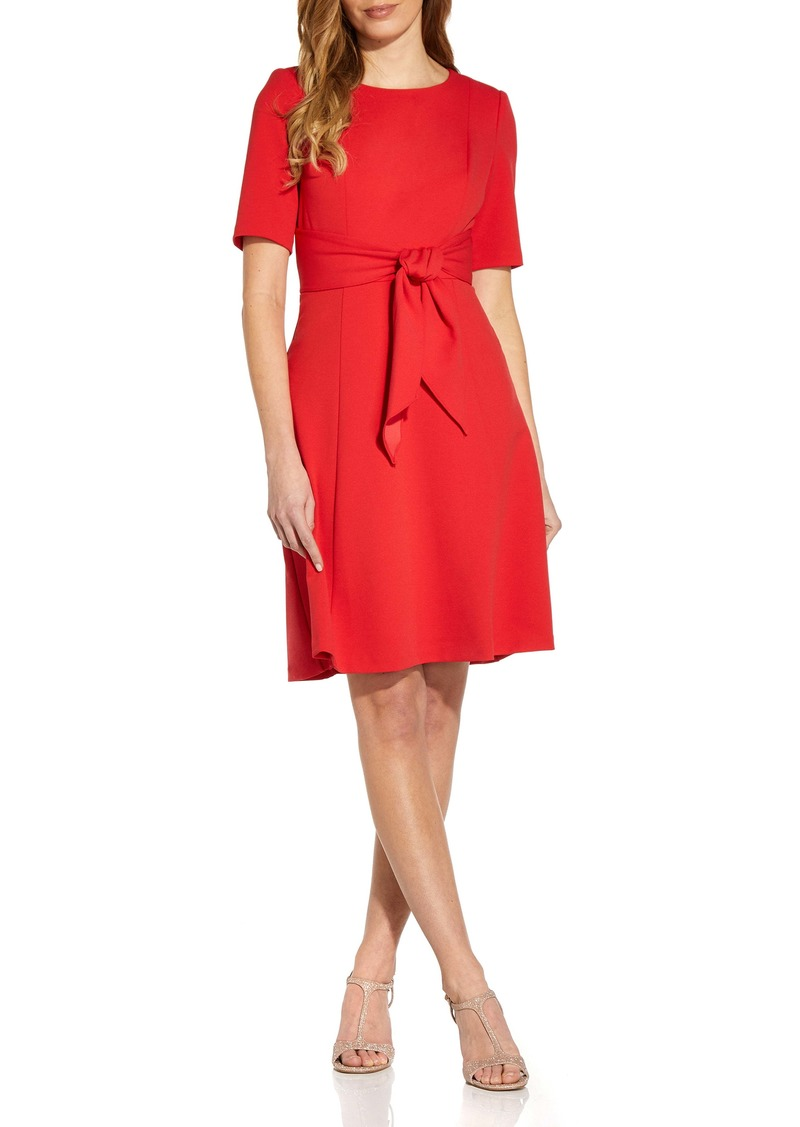 Adrianna Papell Tie Front Fit & Flare Crepe Dress