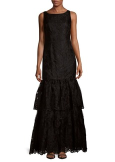 Adrianna Papell Tiered Embroidered Dress