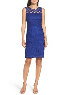 Adrianna Papell Trellis Embroidered Sheath Dress (Regular & Petite)
