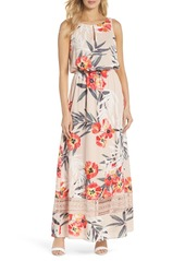 Adrianna Papell Tropical Breeze Print Maxi Dress