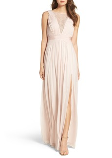 Adrianna Papell Tulle & Lace Gown