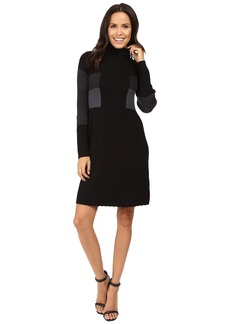Adrianna Papell Turtleneck Long Sleeve Color Block Pleat Dress