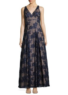 Adrianna Papell Twilight Fit & Flare Lace Gown