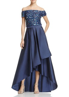 Adrianna Papell Two-Piece Off-the-Shoulder High/Low Gown